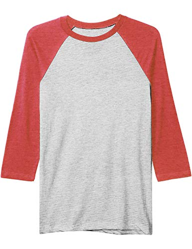 Baseball Solid Jersey Cotton (Hat and Beyond Mens Baseball Raglan 3/4 Sleeve Plain Casual Tee Basic Active T Shirts (Large, 82_Heather Gray/Heather Red))