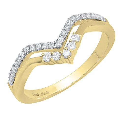 Dazzlingrock Collection 0.25 Carat (ctw) 14K Round Diamond Ladies Chevron Wedding Band 1/4 CT, Yellow Gold, Size 6