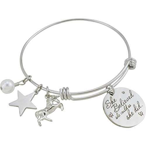 Inspirational Stainless Steel Jewelry Gift Expandable Wire Bangle Charm Bracelet for Girls Women