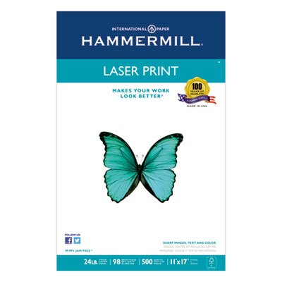 Laser Print Office Paper, 98 Brightness, 24lb, 11 x 17, White, 500 Sheets/Ream, Sold as 1 Ream, 500 per Ream