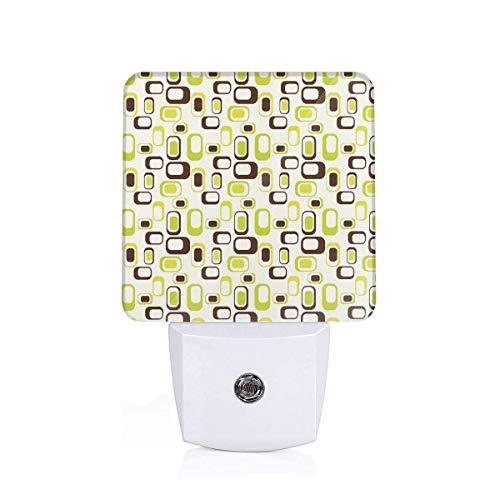Seuriamin Geometric Nostalgic Sixties Vibes Abstract Shapes Vibrant Figures Decorative Apple Green Chestnut Brown Cream Dusk to Dawn Sensor of Corridor Energy Efficient Night Light ()