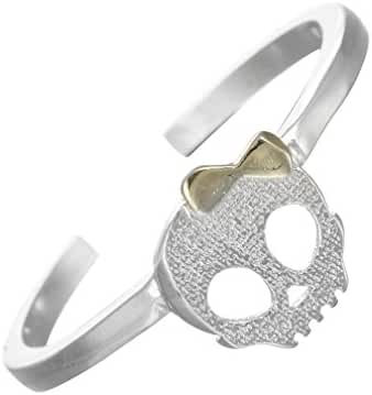 Cute Vintage Bowknot Female Skull Rings 925 Sterling Silver Jewelry