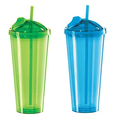 Set of 2 Aqua and Green Oggi Double Walled Tumblers with Slide-Open Straw, 20-Ounce