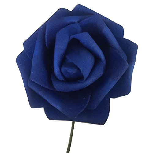 CY-buity 50Pcs Romantic Handmade Artificial Wedding Engagement Flower Bridal Rose Bouquet Navy Blue