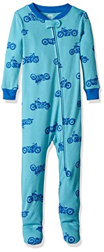 Amazon Essentials Baby Boys Zip-Front Footed Sleeper, Blue Motorcycle, 18-24M ()