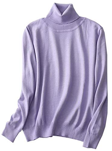 (Women's Cashmere Turtleneck Long Sleeves Lightweight Pullover Sweater,Lilac Colour, Tag 2XL = US L(12))