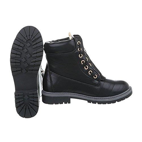 Zapatos para mujer Botas Tacón ancho Botines con cordones Ital-Design Negro A-15-2