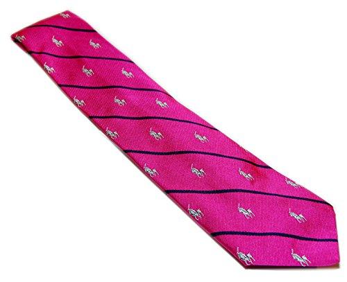 - Polo Ralph Lauren Mens Silk Dress Tie Italy Preppy Pink Navy Stripe Horse Motif