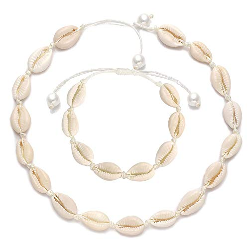 Natural Shell Choker, Handmade Seashell Necklace Adjustable Cowries Shell Anklet Bangle, Boho Hawaii Summer Beach Necklaces Bracelet Set Jewelry for Women Girls with Gift Box - White Rope