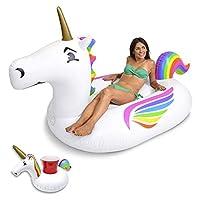 GoFloats Giant Inflatable Unicorn Pool Float | Raft Includes Bonus Unicorn Drink Float | Trending Giant Float for Kids and Adults