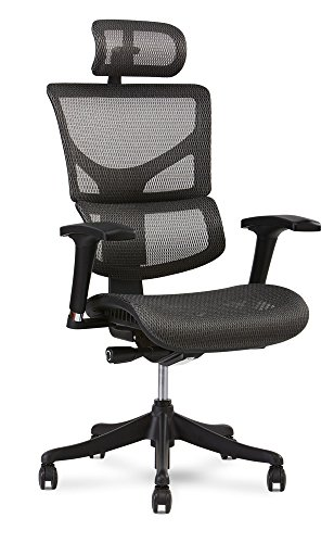X Chair X1 Task Chair, Grey Flex Mesh with Headrest