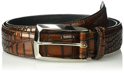 Stacy Adams Men's Ozzie Croc Embossed Belt, cognac, ()