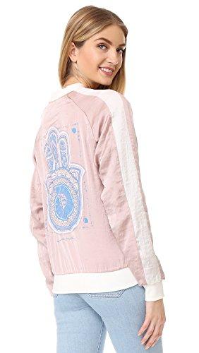 Spiritual Gangster Women's Dreamer Hamsa Bomber Jacket, Blush, Large (Gangster Woman)