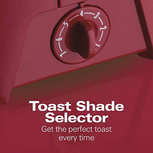 Hamilton Beach 2 Slice Extra-Wide Slot Toaster with Shade Selector, Toast Boost, Auto Shutoff, Red (22623)