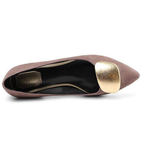 Nine Seven Cuero Moda Puntiagudos Zapatos de Tacón Grueso de Trabajo para Mujer Rosa
