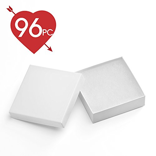 MESHA 96 Pcs Jewelry Boxes 3.5x3.5x1 Inches White Square Cardboard Boxes Bracelet Boxes with Cotton (Small Cotton Box)