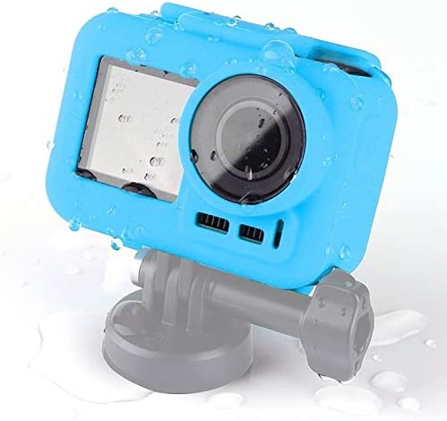 Silicone Protective Case for DJI New Action with Frame Durable Color : Blue