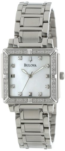 Bulova Women's 96R107 Stainless Steel and Mother-of-Pearl Diamond-Accented Watch ()