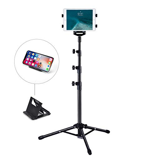 Ipad Tripod Mount Floor Stand, Weiyudang Height Adjustable 20 to 60 Inch Tablet Tripod Stand Mount for Ipad, Ipad Pro 11 and Others Within 7-10 Inch, Carrying Case and Mini Stand Includeed (Best Ipad For Recording Music)