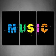 First Wall Art - Word Music Letters In Different Color Wall Art Painting Pictures Print On Canvas Music The Picture For Home Modern Decoration
