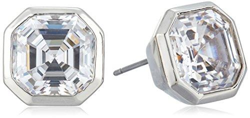 Nicole Miller 10 mm Signature Asscher Bezel Rhodium/Clear Stud Earrings (Stud Asscher)