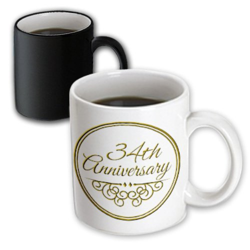 3dRose mug_154476_3 34Th Anniversary Gift, Gold Text for Celebrating Wedding Anniversaries, 34 Years Married Together Magic Transforming Mug, 11-Ounce