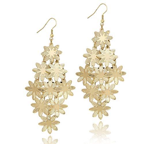 KISSPAT 14K Gold Cluster Petals Earring Light Weight Chandelier Dangling Earrings for Women Girls