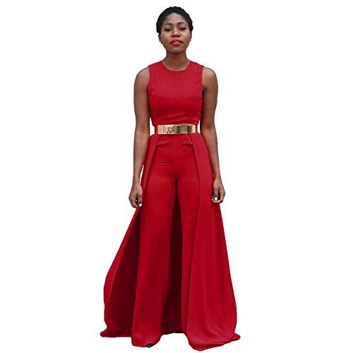 Damen Rot Cape ärmellos Jumpsuit Catsuit Clubwear Kleidung Größe UK 12EU 40