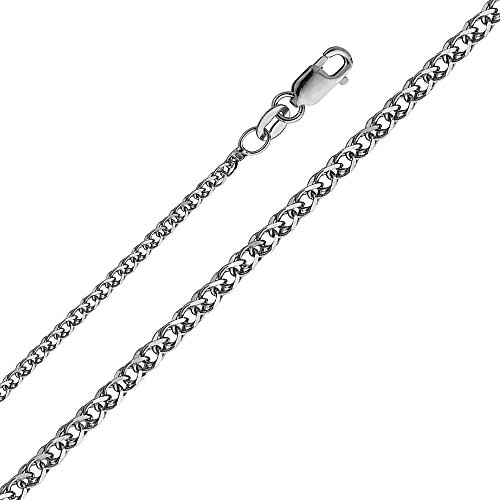 14k White Gold 1.5mm Flat Open wheat Chain Necklace with Lobster Claw Clasp - 18