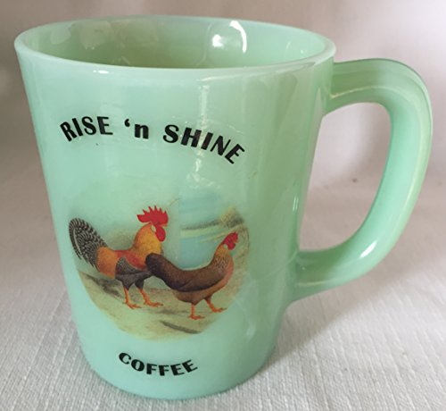 Rise N Shine Coffee - Chicken Rooster Hen - Jade Jadeite Jadite Green Glass Coffee Mug - USA - American Made