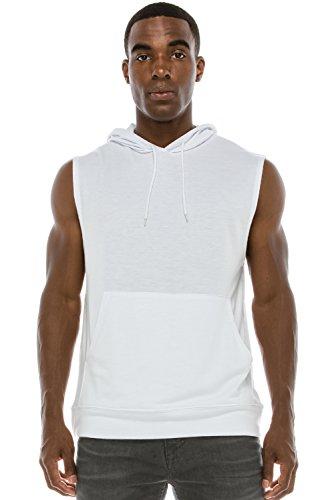 JC DISTRO Mens Hipster Hip Hop Active Lightweight Sleeveless White Hoodie Medium by JC DISTRO