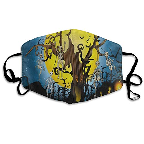 ZHOUSUN Dustproof Washable Reusable Halloween Skull Tree Candle Bald Tree Mouth Cover Mask Respirator Germ Protective Safety Warm Windproof Mask -