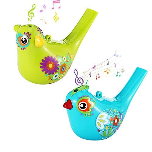 Airgolf 2Pcs Bird Whistle Durable Non-Toxic Bath Bird Whistle for Kids Colorful Bird Water Whistle for Bath Toys Birthday Gift Easter -