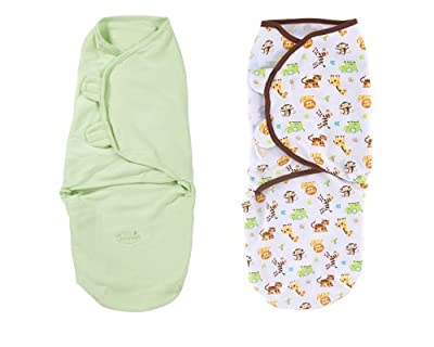 Summer Infant SwaddleMe 2 PK Cotton Knit - Sage/Graphic Jungle, Large from Summer Infant