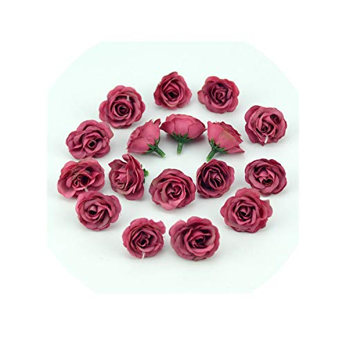 50pcs 3cm Mini Silk Artificial Rose Flowers Cloth for Wedding Party Home Room Decoration DIY Dress Accessories Fake Flowers,Wine red ()