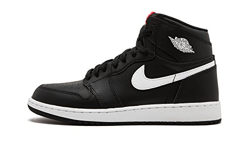 Jordan Nike Kids Air 1 Retro High OG Bg Black/White Black Unvrsty Red Basketball Shoe 6 Kids US