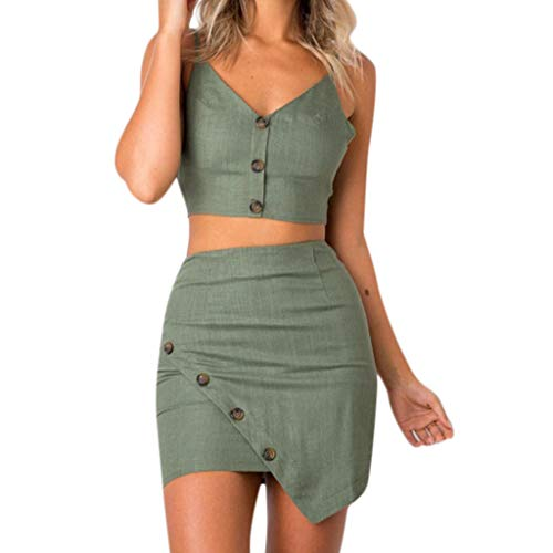 - Women 2 Piece Outfits Sets V-Neck Backless Cami Top and Skirt Set Sexy Button Top and Skirt Beachwear Sets Bodycon Suit Two Piece for Women