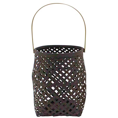 (WHW Whole House Worlds Cape Cod Hip Lantern, Criss-Cross Wicker Basketry, Bamboo, Glass Sleeve, 8 3/4 x 8 5/8 Inches)
