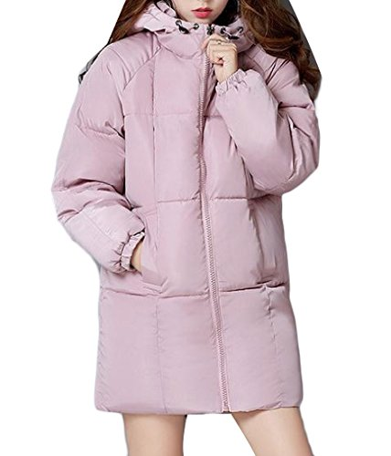 Sezioni Basic Hooded Fit Long Pink Cotton Slim Womens Down Winter Againg C8wBFqn