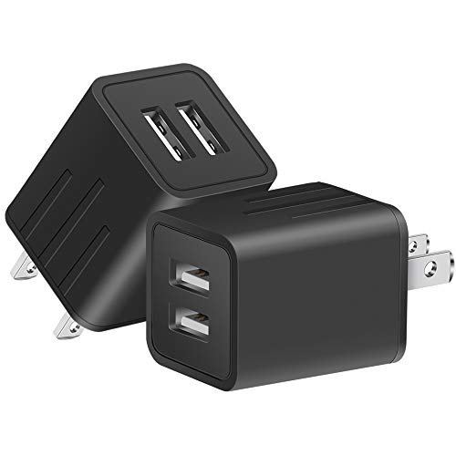DABUSTAR Wall Charger Universal Rapid Dual Port USB Travel AC Adapter Portable Charging Block Power Plug (ETL Listed) Compatible With Phone X/8/7/Plus/6S/6/(2-PACK)