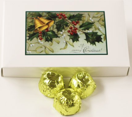 Scott's Cakes White Chocolate Lemon Marzipan Candies with Chartreuse Foils in a 1 Pound Mistletoe Box