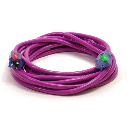 Century D17449100 100 12//3 SJTW Pro Glo Extension Cord Purple
