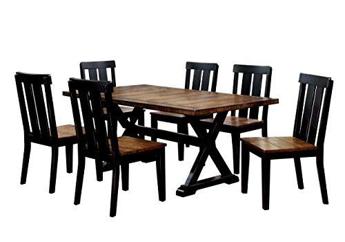 HOMES: Inside + Out Annson Rectangular 7 Piece Dining Set, Antique Oak