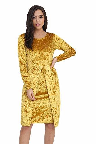 Sleeves Neck Long Mustard Front Cowl Ladies Midi Womens Cut Crushed Dress Velvet YE4xqw
