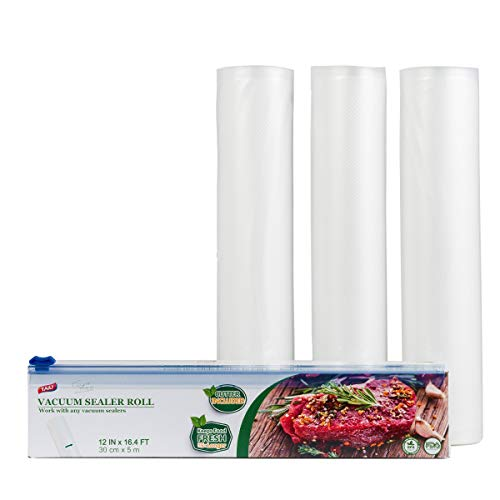 TAILI Vacuum Sealer Rolls Cutter Included Pack of 3 11.8 inch * 16 feet Vacuum Sealer Bags Multilayer BPA Free FDA Approved Fit for All Vacuum Sealer Machine Ideal for Sous Vide Cooking Freezer