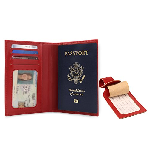 OTTO Leather Passport Wallet - RFID Blocking - Unisex (Red) by OTTO (Image #1)