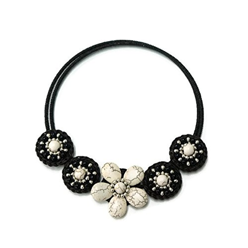 White Flower howlite choker necklace for Girls & Women (Duo Costume Ideas)