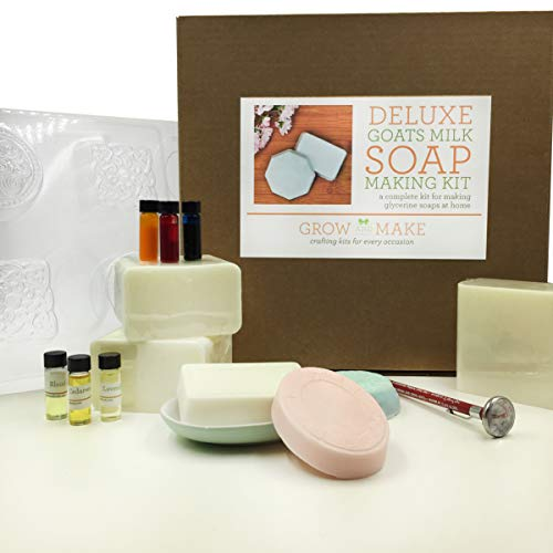 Grow and Make DIY Deluxe Goat Milk Soap Making Kit - Learn How to Make Your own soap at Home! ()