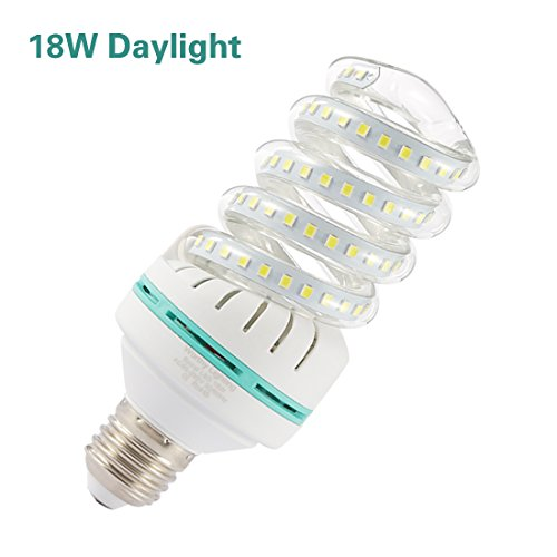 A19 Spiral LED Light Bulb, 150W Equivalent LED Bulb,18W CFL Replacement Light Bulb, Daylight White 6000K, E26 Base, 1850 LM, Not-Dimmable, for Photo Light,Warehouse,Garage Lighting, Barn, Patio, etc.
