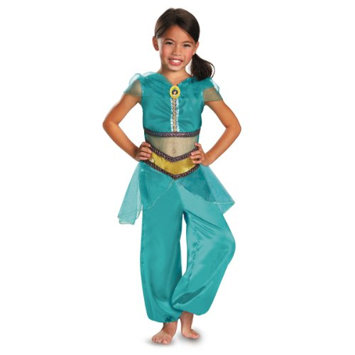 [Disguise Disney Aladdin Jasmine Sparkle Classic Girls Costume, 3T-4T] (Halloween Jasmine Costume)